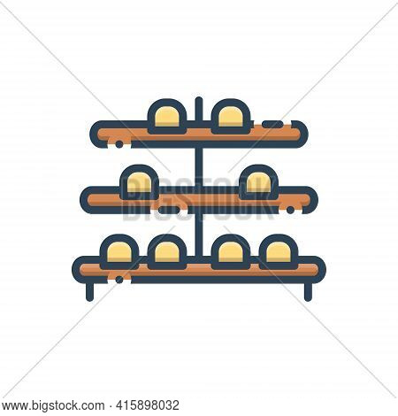 Color Illustration Icon For Shoe-rack  Shoe Rack  Stand Collection Showcase