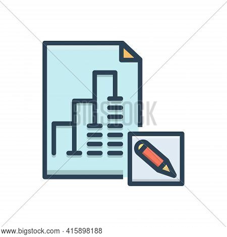 Color Illustration Icon For Report-editor Report Editor Proofread Blogging Manuscript