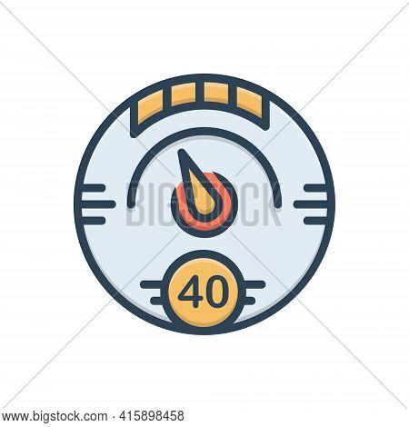 Color Illustration Icon For Digital-gauge Digital Gauge Speedometer Meter Tachometer Indicator
