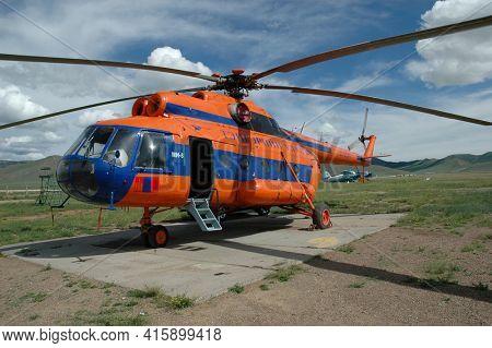 GOBI DESERT, MONGOLIA - June 29, 2006: Sightseeing Heilcopter in helipad in the Gob Desert of Mongolia