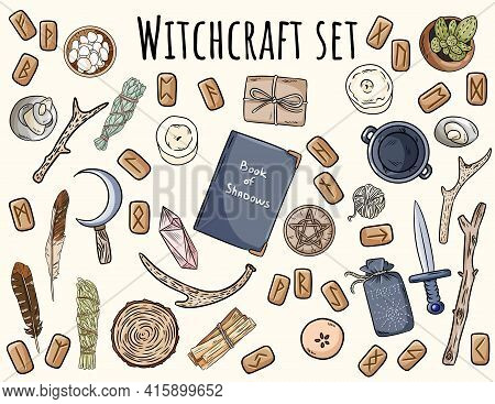 Witchcraft Set. Collection Of Wiccan Magical Items Doodles For Occult Rituals. Hand Drawn Pagan Elem