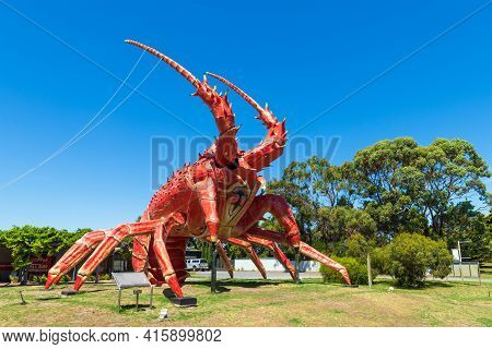 Kingston Se, South Australia - February 14, 2021: The Big Lobster Is A Tourist Attraction On The Way