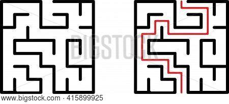 Vector Labyrinth. Maze Or Labyrinth. Vector Illustration.education Logic Game Labyrinth For Kids. Fi