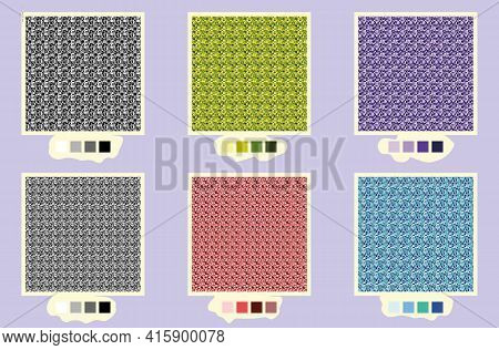 Set Of Tweed Textures In Different Colours. And Two Versions