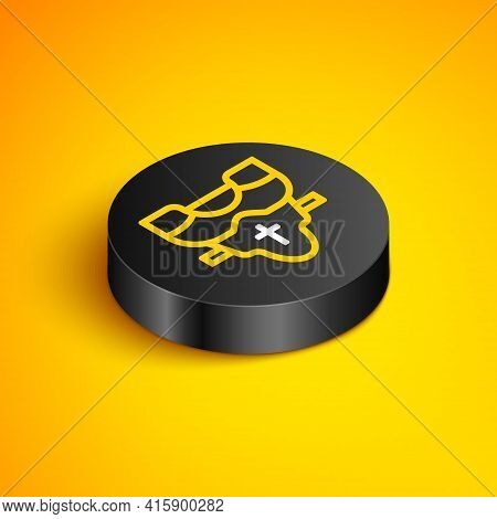 Isometric Line American Football Player Chest Protector Icon Isolated On Yellow Background. Shoulder