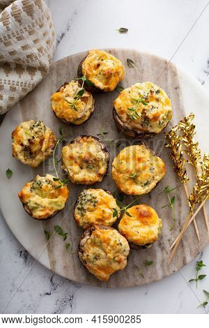 Stuffed Mushrooms With Broccoli And Cheese Filling