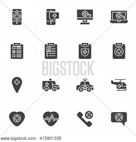 Emergency Medicine Vector Icons Set, Modern Solid Symbol Collection, Filled Style Pictogram Pack. Si