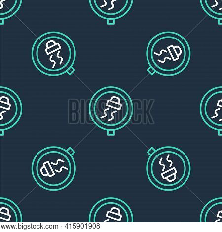 Line Slippery Road Traffic Warning Icon Isolated Seamless Pattern On Black Background. Traffic Rules
