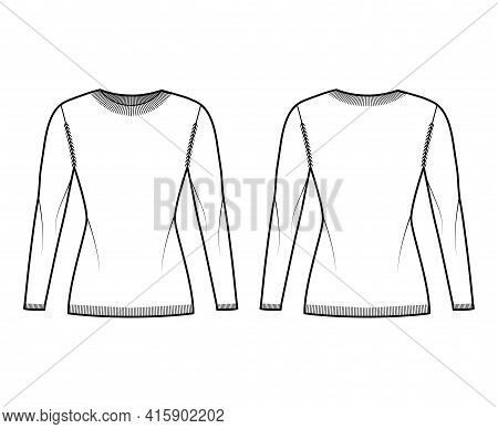 Crew Neck Sweater Technical Fashion Illustration With Long Sleeves, Slim Fit, Hip Length, Knit Rib T