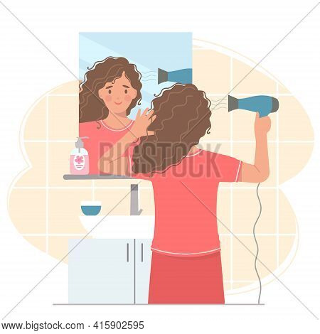 Young Woman In Front Of A Mirror Dries Her Hair With A Hair Dryer . She's Holding A Hair Dryer. Vect