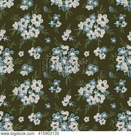 Chervil Garden Floral Seamless Vector Pattern. Small Painted Bouquets Of Blue And White Flowers With
