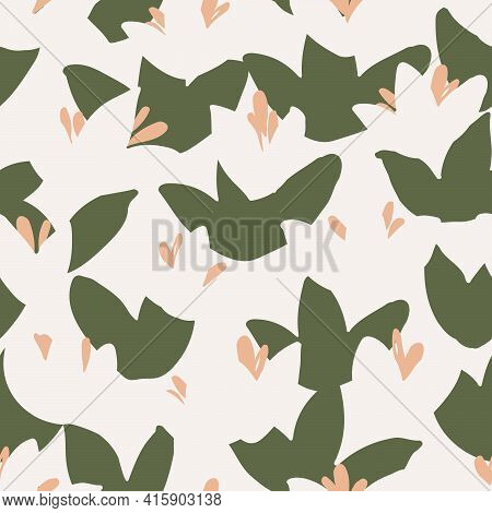 Lotus Abstract Floral Seamless Vector Pattern. Abstract Minimal Floral Pattern With Small Lotus Shap