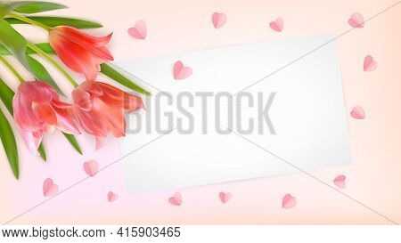 Composition Of Realistic Tulips And Paper Hearts On Pink Background. Bouquet Of Tulips Buds With Pap