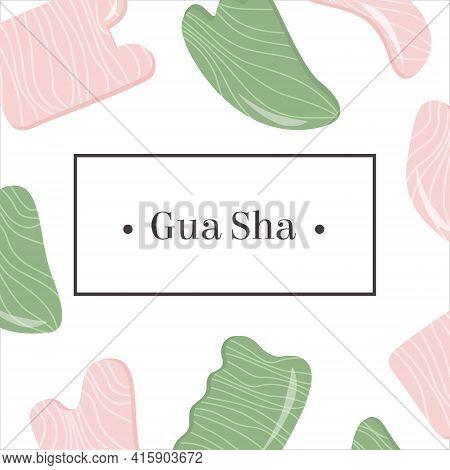 Web Banner, Social Media Post, Ad Of Rose Quartz And Jade Gua Sha. Scraping Massage Tool. Natural Pi