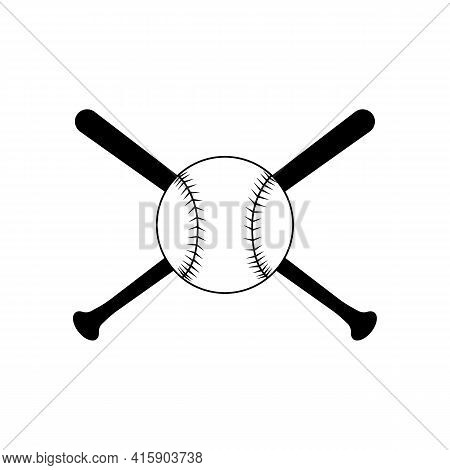 Baseball With Bats Is An Illustration Of A Baseball Or Softball With Two Crossed Bats. Great For T-s