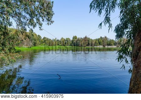 View Of The Berekhat Yaar (forest Pool) Nature Reserve, Part Of Hasharon Park, In Hadera, Northern I