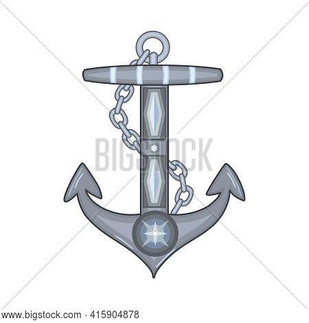 Ship Anchor Isolated On White Background. Nautical Symbol Icon. Marine Retro Decorative Item. Antiqu