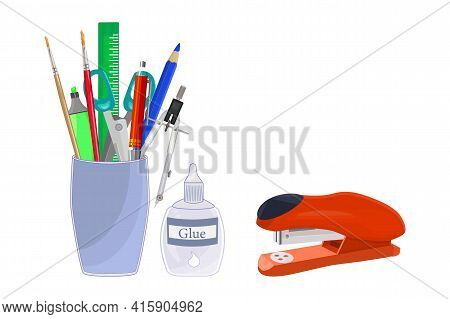 Pencils Holder With School Stationery Isolated On White Background.  Back To School Concept. Office,