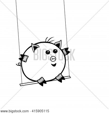 Black Vector Piggy Fat Boy Swinging On A Swing On A White Background