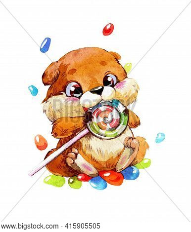 Hamster And Lollipop. A Cute And Funny Hamster In A Cartoon Style Is Gnawing A Lollipop Around A Can