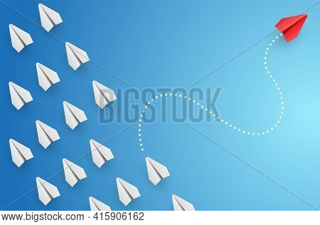 Individuality Concept. Individual And Unique Leader Red Paper Plane Flies To The Side. Vector Illust