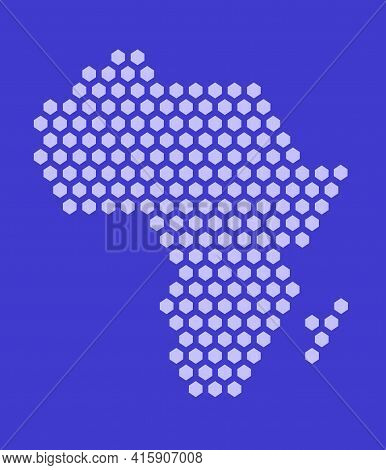 Purple Hexagonal Pixel Map Of Africa. Vector Illustration African Continent Hexagon Map Dotted Mosai