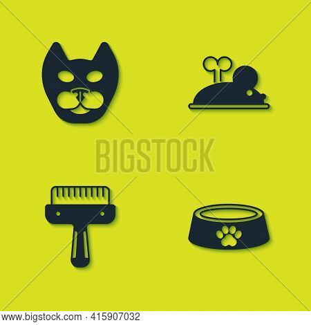 Set Cat, Pet Food Bowl, Hair Brush For Dog And Cat And Clockwork Mouse Icon. Vector