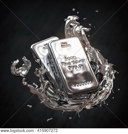 Silver bar or bullion ingot in liquid silver metal splash on black background. 3d illustration