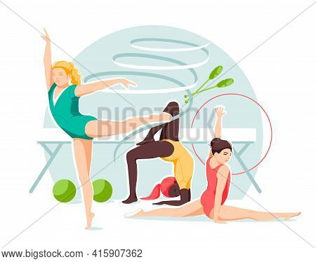 Little Girls Rhythmic Gymnasts With Various Gymnastic Objects. Set Of Vector Illustrations In Flat C