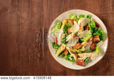 Caesar Salad With Chicken, Top Shot With A Place For Text