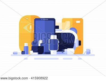Group Of Electronics Gadgets. Flat Vector Illustration. Smartphone, Smart Speaker, Fitness Tracker,