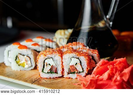 Set Of Sushi Rolls On A Plate. Close-up, Selective Focus
