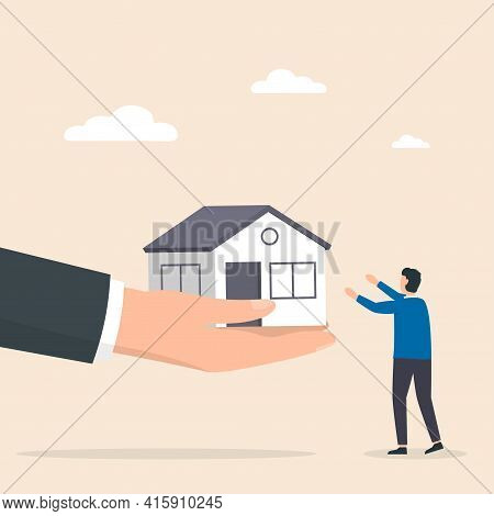 Real Estate Agent Holds Out A Hand With A House In Palm Offering To Buy It. Offer Of Purchase House,