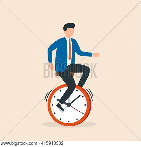 Businessman Rides Time Bike. Time Management Deadline Concept. Man Balancing On Unicycle While Holdi
