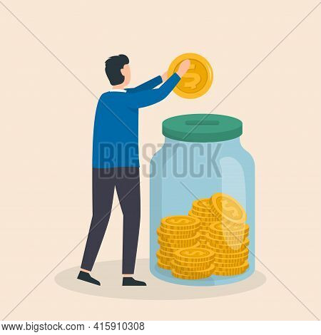 Money Saving Concept. Man Putting Coin Into Money Glass Jar. Finance, Savings And Investment. Vector
