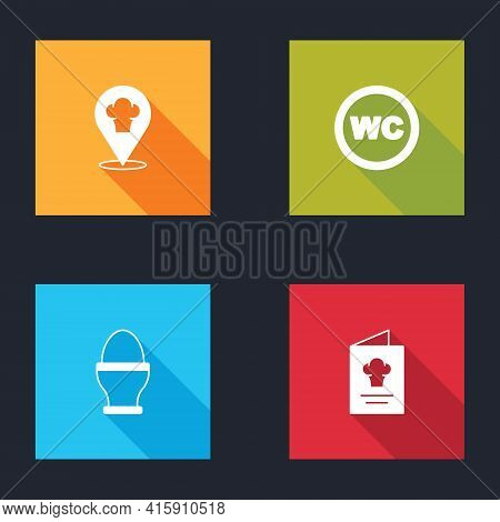 Set Chef Hat With Location, Toilet, Chicken Egg Stand And Cookbook Icon. Vector