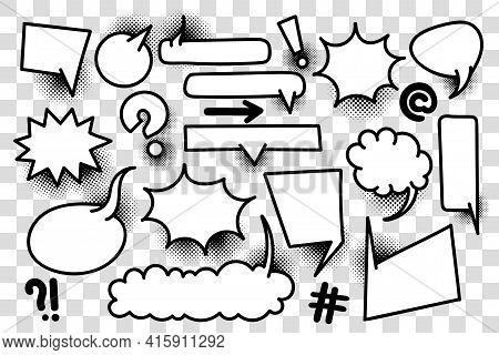 Comic Text Speech Bubble Pop Art Style Halftone Background. Set White Cloud Talk Speech Bubble. Isol