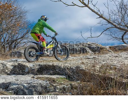 Pyatigorsk / Russia - March 26 2021: Training Of Athletes In Motorcycle Trials In A Mountainous Area