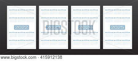 2022 2023 2024 2025 Calendar Set In Minimalistic Urban Trendy Style. Rounded Streamlined Shape Gray