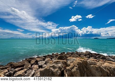 Beautiful Green Seascape In The Gulf Of La Spezia With Storm Clouds On Horizon In Front Of The Ancie