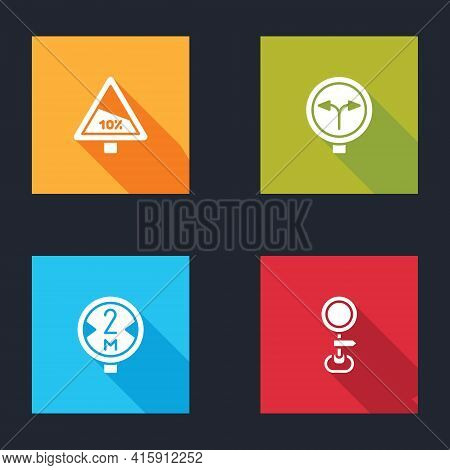 Set Steep Ascent And Descent Road, Fork In The, Road Traffic Sign And Icon. Vector