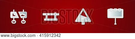 Set Road Traffic Sign, Parking Car Barrier, Steep Ascent And Descent Road And Billboard With Lights