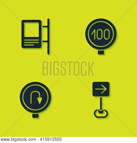 Set Road Traffic Sign, Traffic Turn Right, Turn Back Road And Speed Limit Icon. Vector