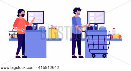 Self Checkout Shop. Man And Woman Paying For Products At Electronic Device. Self-service Cashier On