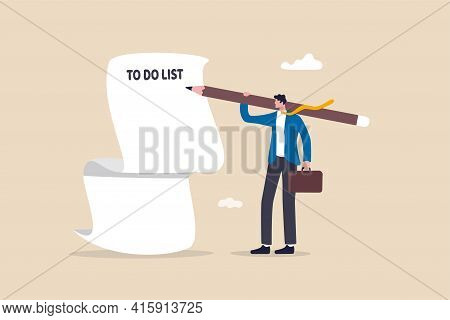 Long To Do List, Overload Tasks And Responsibility Or Productivity And Efficiency Management Concept