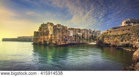Polignano A Mare Village On The Rocks At Sunrise, Bari, Apulia, Southern Italy. Europe.