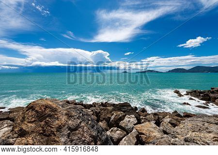 Seascape In The Gulf Of La Spezia With Beautiful Storm Clouds On The Horizon, In Front Of The Ancien