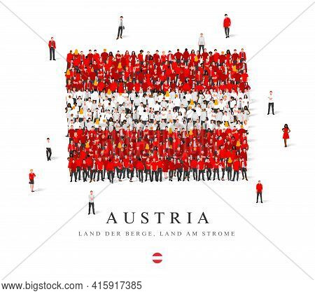 A Large Group Of People Are Standing In Red And White Robes, Symbolizing The Flag Of Austria. Vector