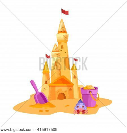Sand Castle Vector Summer Beach Isolated Illustration, Yellow Towers, Flag, Cute Crab, Bucket, Shove