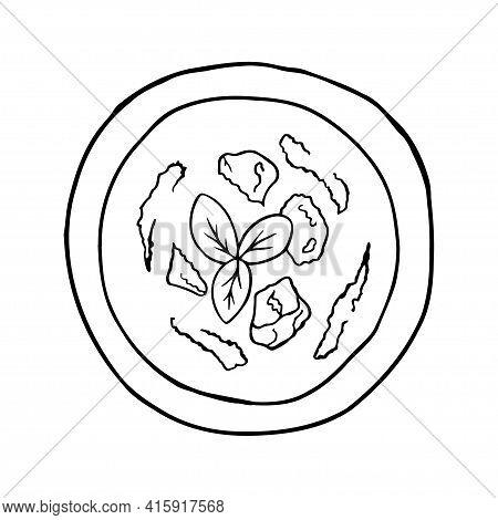 Vector Hand-drawn Gazpacho. Spanish Cuisine Dish. Design Sketch Element For Menu Cafe, Bistro, Resta